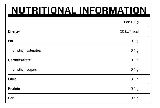 Shirataki Konjack valori nutrizionali